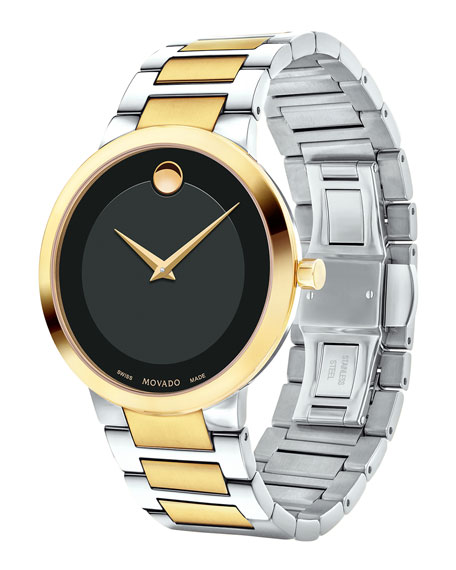 39.2mm Modern Classic Watch, Silver/Yellow Gold/Black