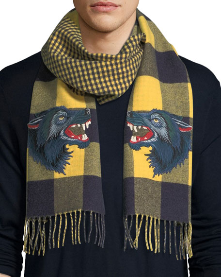 Gucci Check Wool-Cashmere Scarf with Wolf