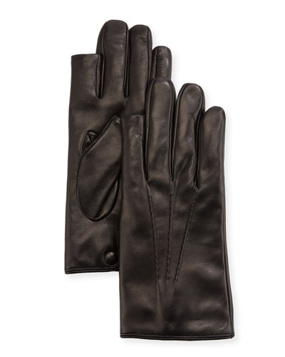 3-Point Napa Leather Gloves w/ Cashmere Lining
