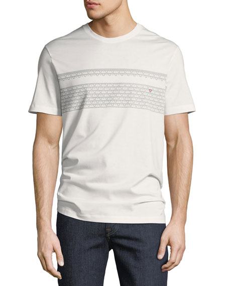 Salvatore Ferragamo Men's Gancio-Stripe Embroidered T-Shirt