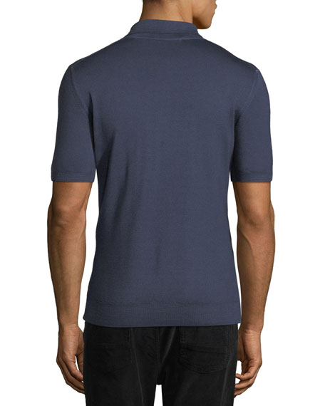 Virgin Wool Bland Gancio-Knit Short-Sleeve Sweater