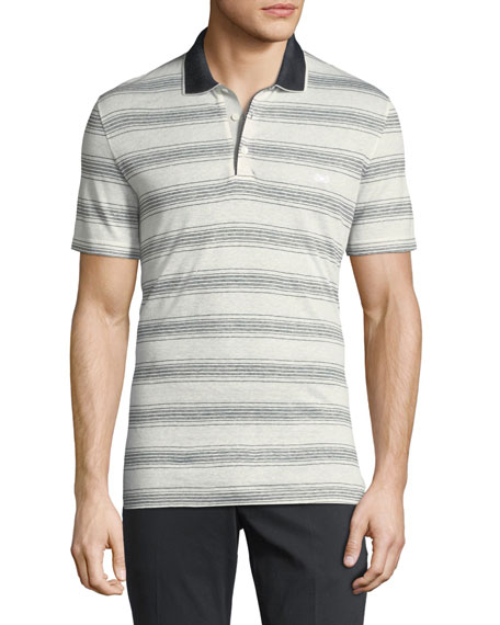 Salvatore Ferragamo Linen-Cotton Blend Nautical Striped Polo