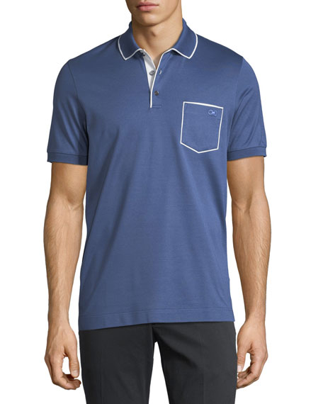 Salvatore Ferragamo Men's Cotton-Pique Contrast Piped Polo Shirt