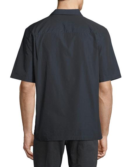 Short-Sleeve Bowler Shirt with Vertical Line Details