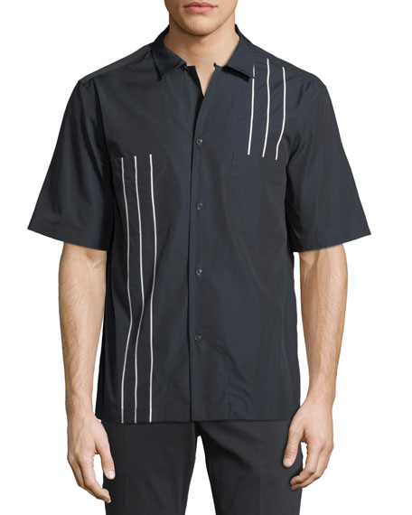 Men's Short-Sleeve Bowler Shirt with Vertical Line Details
