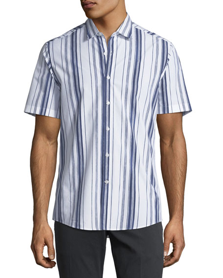 Salvatore Ferragamo Multi-Striped Short-Sleeve Sport Shirt