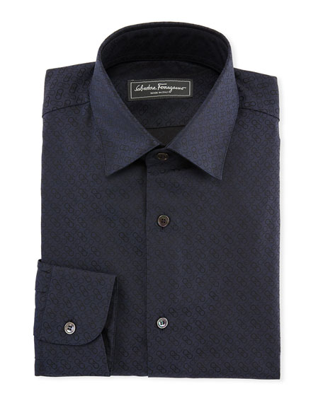 Salvatore Ferragamo Men's Gancini Jacquard Cotton Sport Shirt