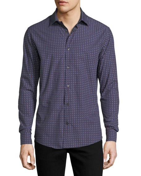 Salvatore Ferragamo Gancini-Print Cotton Sport Shirt, Blue/Red