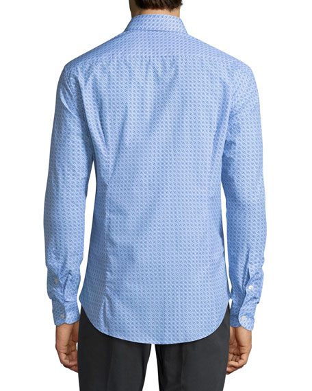 Men's Gancini-Print Cotton Sport Shirt, Blue