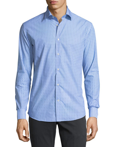 Men's Gancini-Print Cotton Sport Shirt, Blue