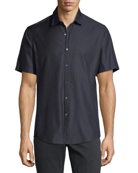 Salvatore Ferragamo Gancini-Jacquard Short-Sleeve Sport Shirt, Navy