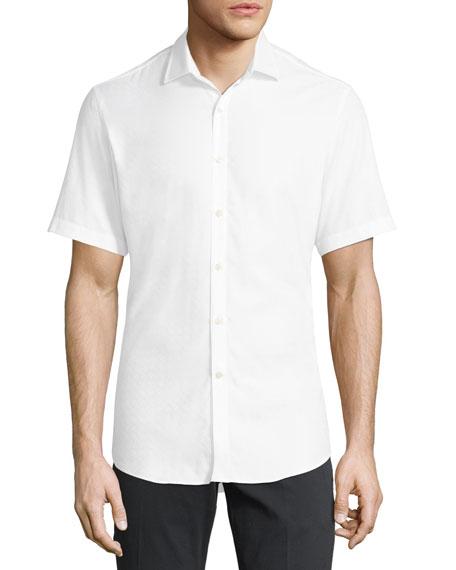 Salvatore Ferragamo Gancini-Jacquard Short-Sleeve Sport Shirt, White