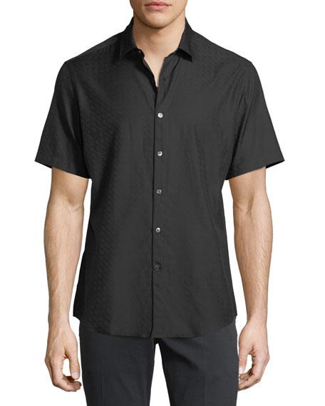 Salvatore Ferragamo Gancini-Jacquard Short-Sleeve Sport Shirt, Black