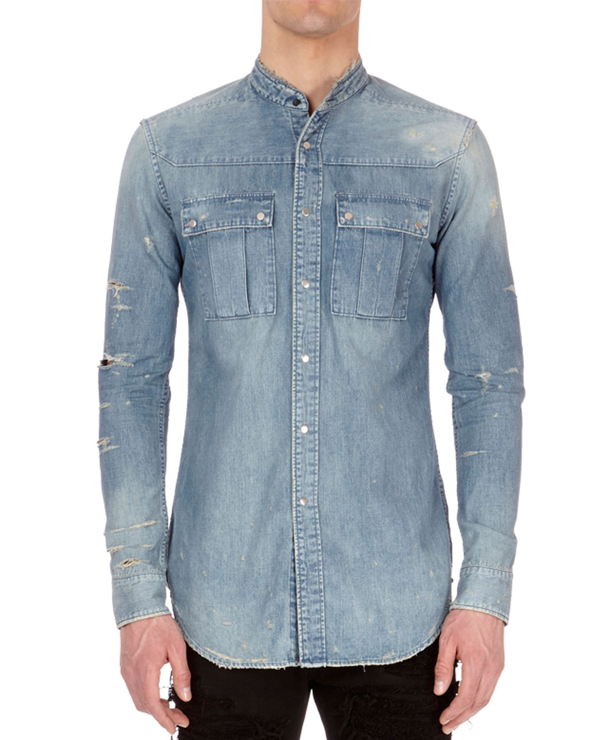 89293ab2 Balmain Distressed Denim Shirt | Neiman Marcus