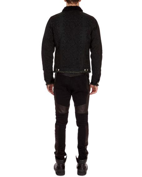 Python-Print Distressed Denim Jacket