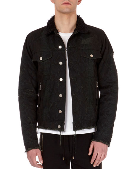 Balmain Python-Print Distressed Denim Jacket