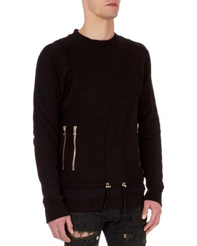 Seamed Zipper Crewneck Sweatshirt