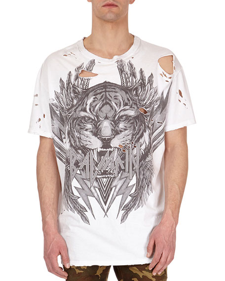 Balmain Distressed Tiger Head Logo T-Shirt, White