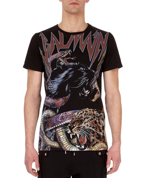Balmain Jaguar & Snake Logo T-Shirt