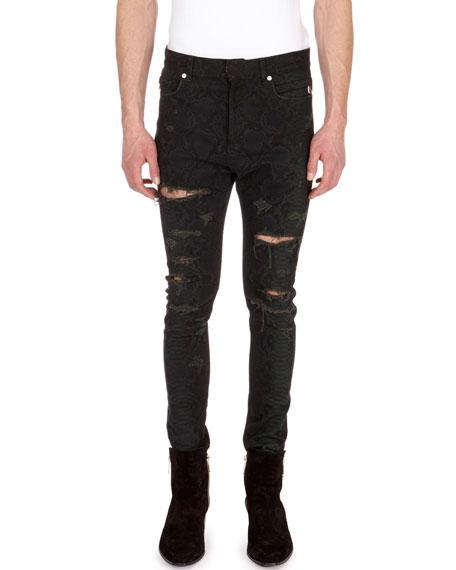 Balmain Distressed Python-Print Skinny Jeans