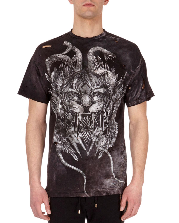 cdc58406 Balmain Distressed Tiger Head Logo T-Shirt | Neiman Marcus