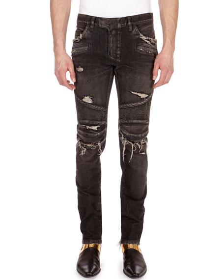 Balmain Distressed Skinny Moto Jeans