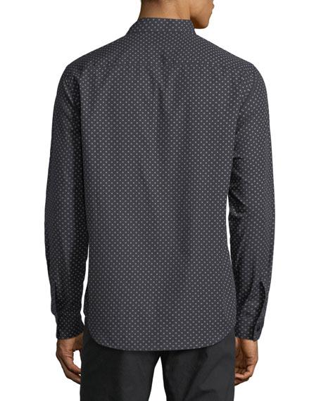 Stitch-Print Cotton Sport Shirt