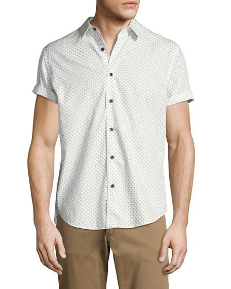 Theory Stitch-Print Cotton Short-Sleeve Shirt