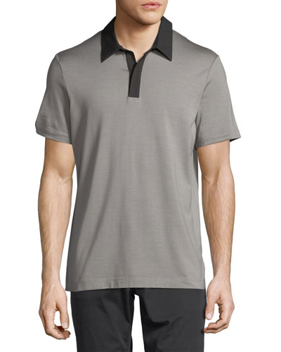 Incisive Contrast-Collar Silk-Cotton Polo Shirt