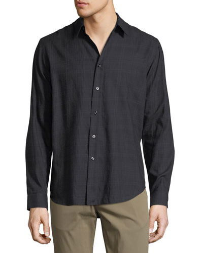 Brushed Tonal Plaid Cotton Shirt