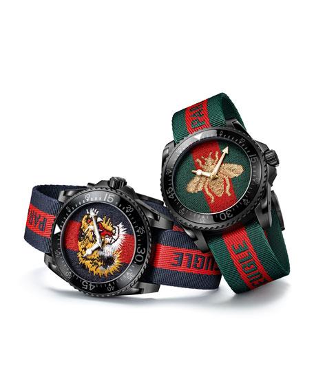 45mm Gucci Dive Tiger Watch w/ Nylon Web Strap