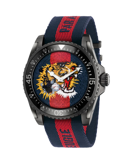 45mm Gucci Dive Tiger Watch w/ Nylon Web
