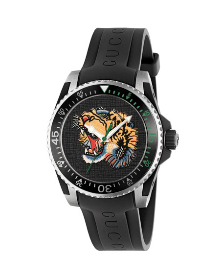 40mm Gucci Dive Tiger Watch w/ Rubber Strap,