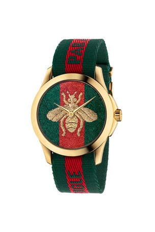 Gucci 38mm Le Marche Des Merveilles Bee Watch w/ Nylon Web Strap