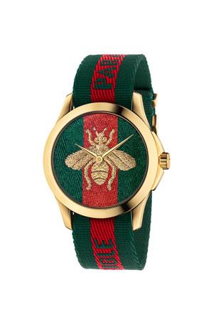 Gucci 38mm Le Marche Des Merveilles Bee Watch w/ Nylon Web Strap