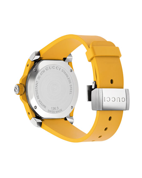 40mm Gucci Dive Tiger Watch w/ Rubber Strap, Yellow