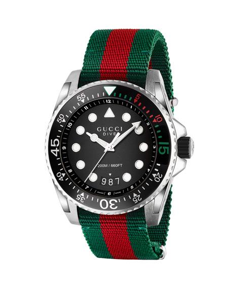 Gucci 45mm Gucci Dive Watch w/ Nylon Web