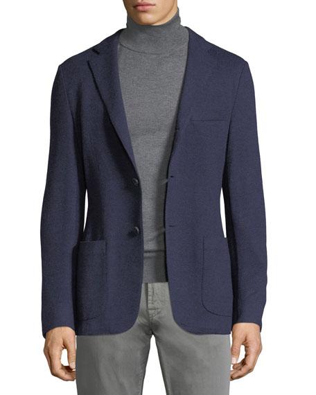 Neiman Marcus Wool-Cashmere Knit Blazer