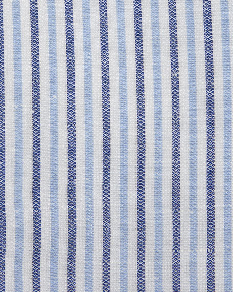 Thick-Stripe Cotton/Linen Dress Shirt