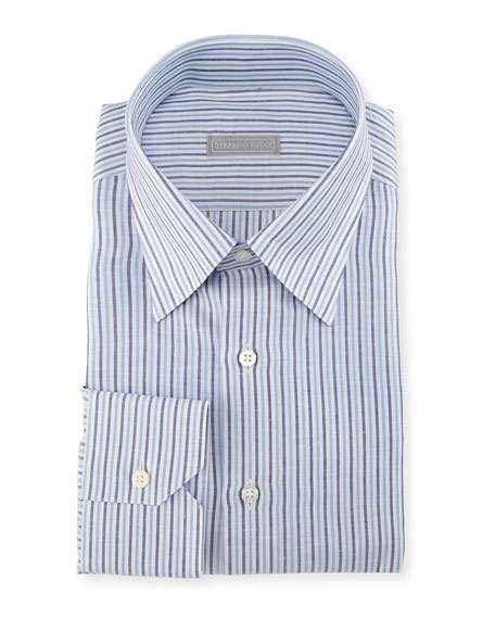 Thick-Stripe Cotton/Linen Dress Shirt