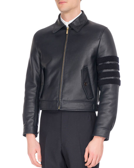 Leather Bomber Jacket with Shearling Stripes