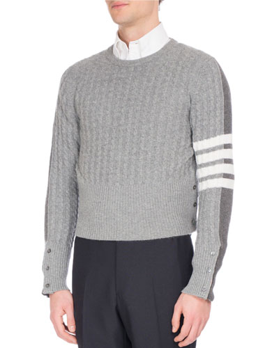 Four-Bar Cable-Knit Cardigan-Back Cashmere Sweater