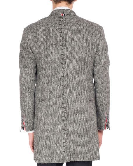 Wool Herringbone Button-Back Chesterfield Coat