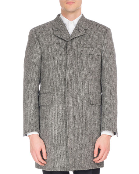Wool Herringbone Button-Back Chesterfield Coat