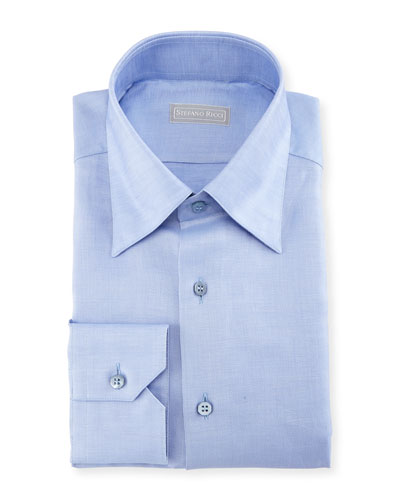 Melange Solid Cotton/Linen Dress Shirt