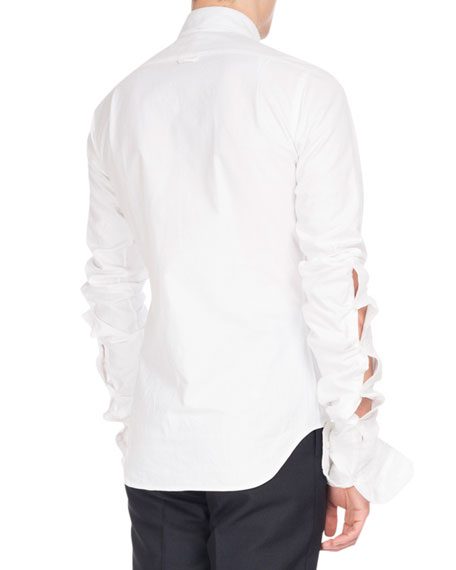 Extended-Sleeve Cotton Oxford Shirt