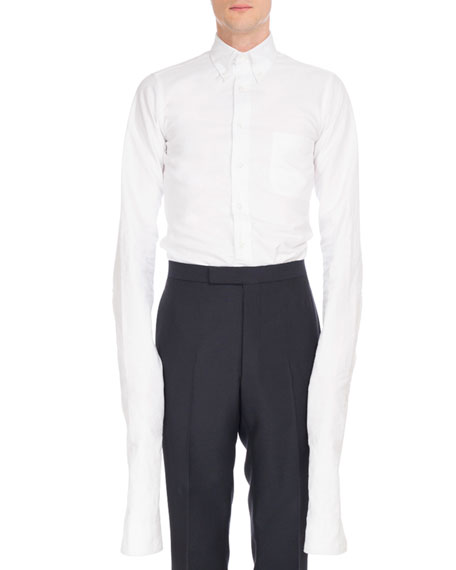 Thom Browne Extended-Sleeve Cotton Oxford Shirt