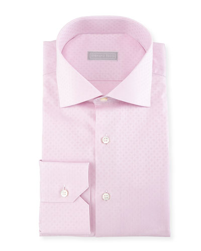 Tonal Square Jacquard Cotton Dress Shirt