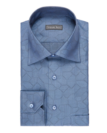 Tile-Print Dress Shirt