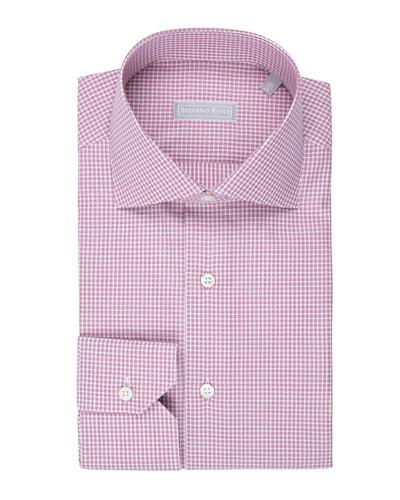 Fine-Stripe Plaid Cotton Shirt  Burgundy